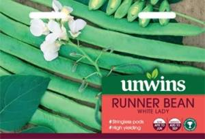 Runner Bean White Lady  Per Pack