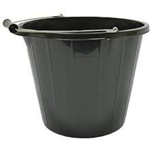 Bucket Plastic Black 14 Litre  Each