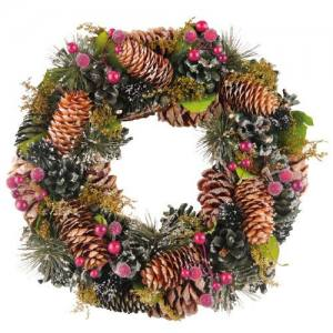 Wreath Frosted Cone & Berry  34cm  Each