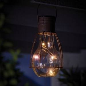 Solar Caged Lightbulb Lantern 18x12cm Each