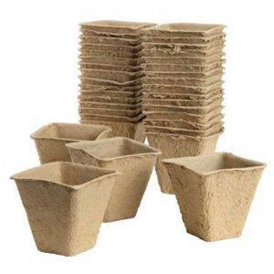 Fibre Pots Square 6cm 20 Pack